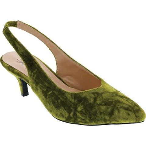 Penny Loves Kenny Women's Dashing Slingback Green Crushed Velvet