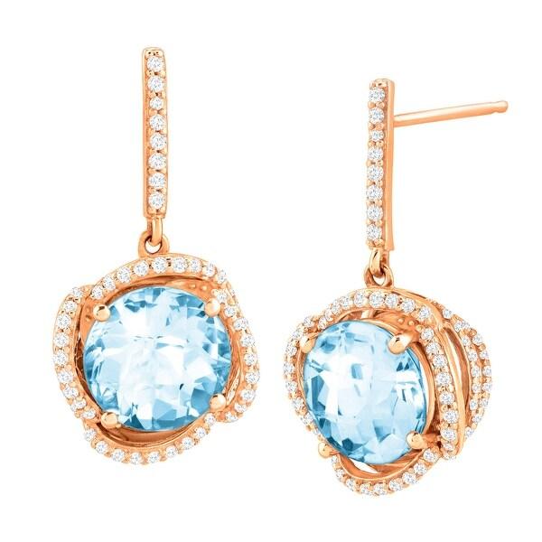 4 3/4 ct Natural Sky Blue Topaz & 1/3 ct Diamond Drop Earrings in 10K Rose Gold