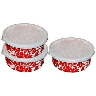 Crow Canyon D102RM 3- Piece Storage Bowl With Lid, Red Marble