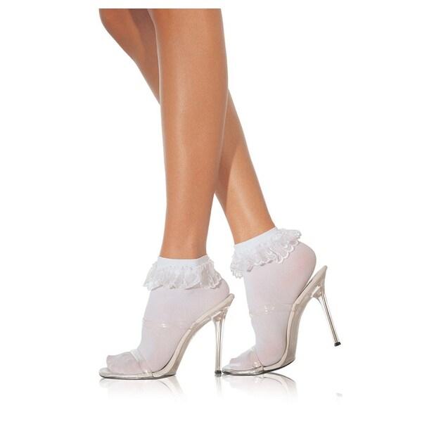 Adult White Ruffle Nylon Socks