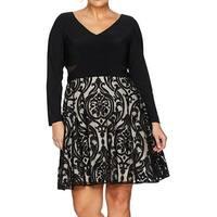 Xscape Black Women's Size 22W Plus V-Neck Textured A-Line Dress