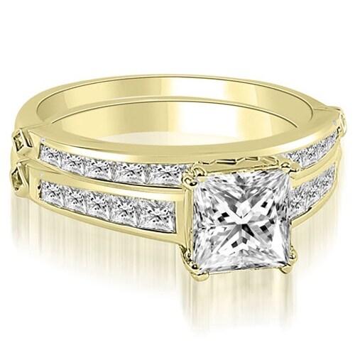 2.20 cttw. 14K Yellow Gold Channel Set Princess Cut Diamond Bridal Set