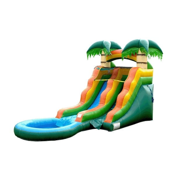 Commercial 10' x 21' Bounce House with Water Slide and Air Blower. Opens flyout.