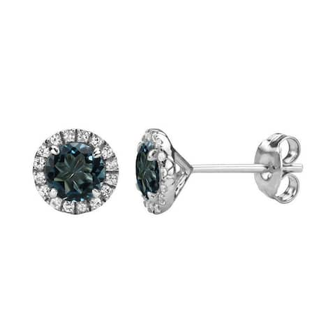 Color Star Sterling Silver Round Gemstone Halo Stud Earrings