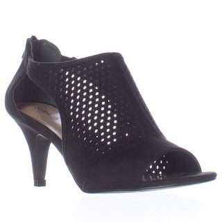 SC35 Helaine Perforated Caged Peep Toe Sandals - Black