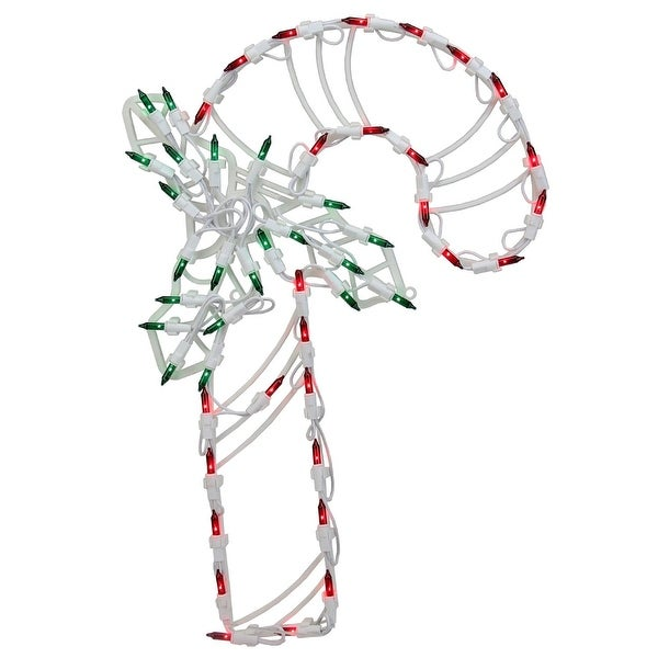 """18"""" Lighted Candy Cane with Holly Christmas Window Silhouette Decoration (Pack of 4) - green"""