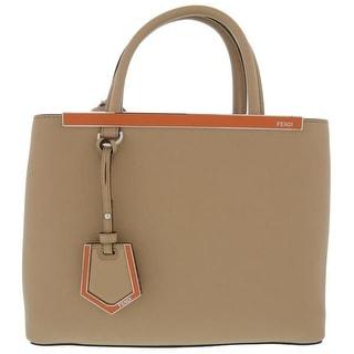 Fendi 2Jours Elite Black Leather Shopper Handbag Brown
