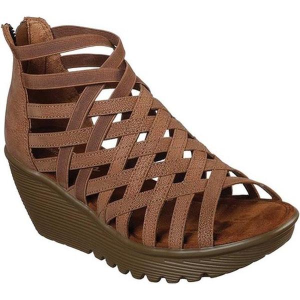 7571038d5ed4 Shop Skechers Women s Parallel Dream Queen Wedge Sandal Tan - Free ...