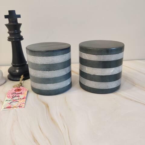 "GAURI KOHLI Joda Alabaster & Black Stone Décor Jars (Set of 2) - 4.0"" X 4.0"""