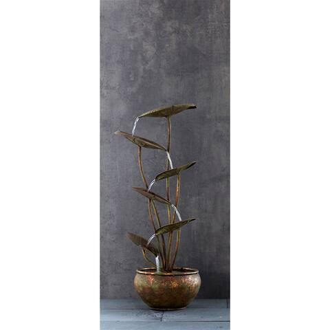 "Lotus Fountain w/UL Pump 30.5""H Metal"