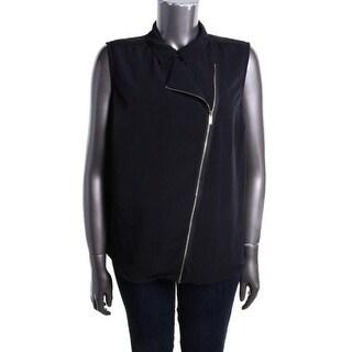 Calvin Klein Womens Plus Solid Sleeveless Blouse - 0X