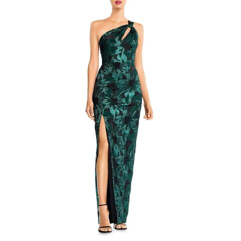 Aidan Mattox Womens Evening Dress Meallic One Shoulder - Black Emerald