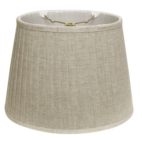 Cloth & Wire Slant Linen Oval Side Pleat Softback Lampshade with Washer Fitter, Oatmeal