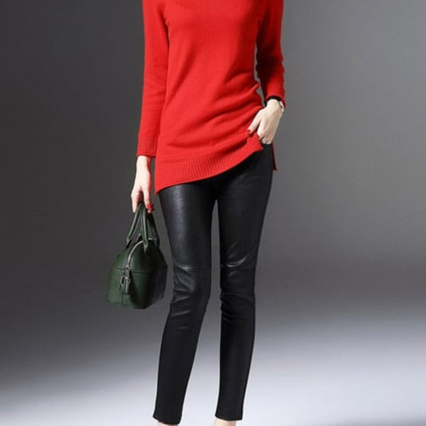 Red Cashmere Long Sleeve Knitted Sweater