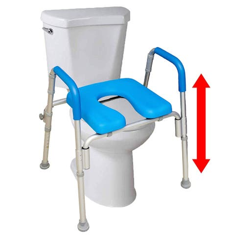 Ultimate Raised Toilet Seat Voted Most Comfortable Padded with Armrests Adjustable Height Fits All Shaped Toilets