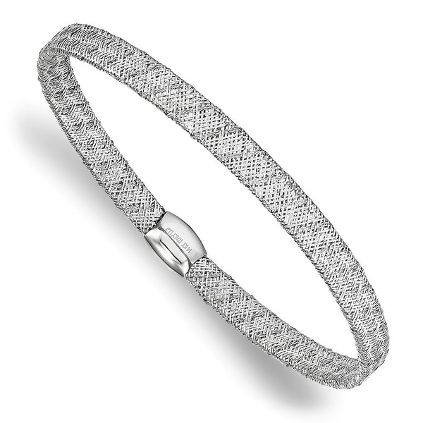 Italian 14k White Gold Fancy Stretch Bangle Bracelet