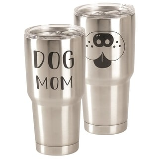 """8"""" Silver and Black Art Printed Glossy Finished Tall Lidded Tumbler"""