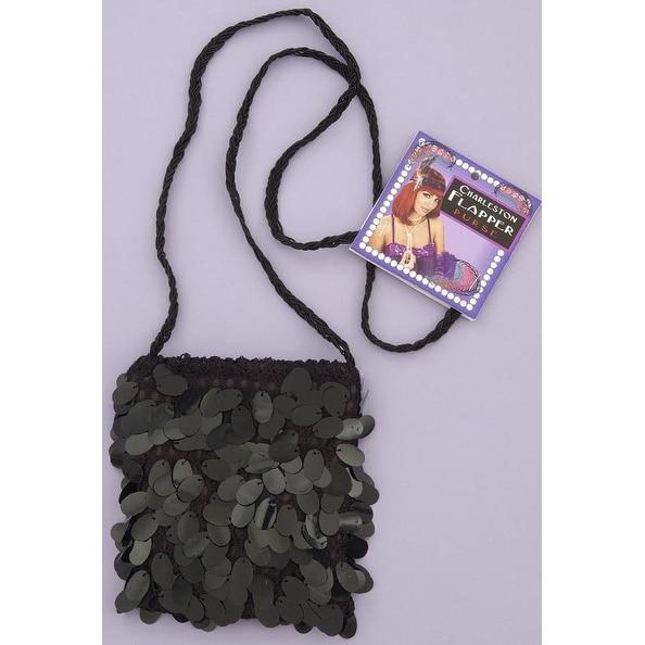 Sequin Flapper Costume Hand Bag Black