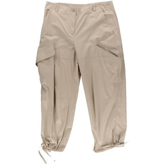 DKNY Womens Solid Flat Front Cargo Pants - 10
