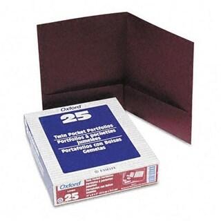 Oxford 53441 Twin-Pocket Linen Paper Portfolio- Burgundy