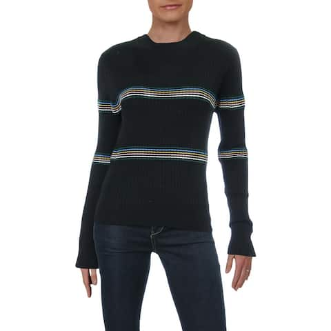 Lush Womens Pullover Sweater Striped Mock Neck - Black Multi - L
