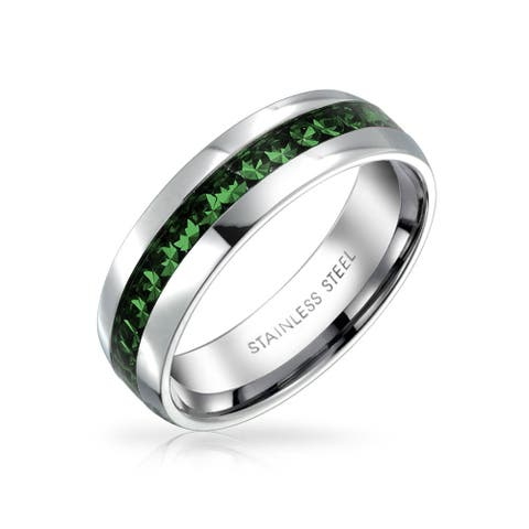 Green Crystal Channel Set Eternity Band Ring For Women Stainless Steel 6mm