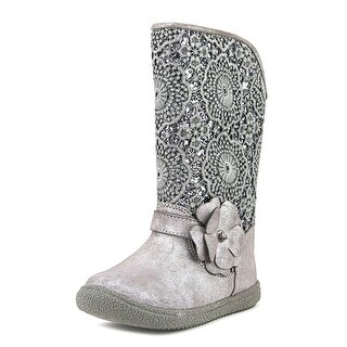 Nina Angelyna Toddler Round Toe Canvas Gray Mid Calf Boot