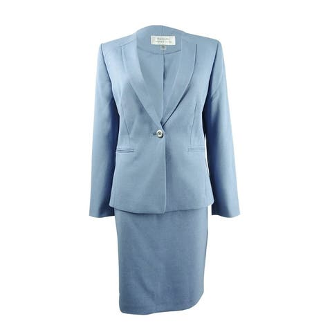 Tahari ASL Women's Inset-Lapel Skirt Suit (6, French Blue) - French Blue - 6