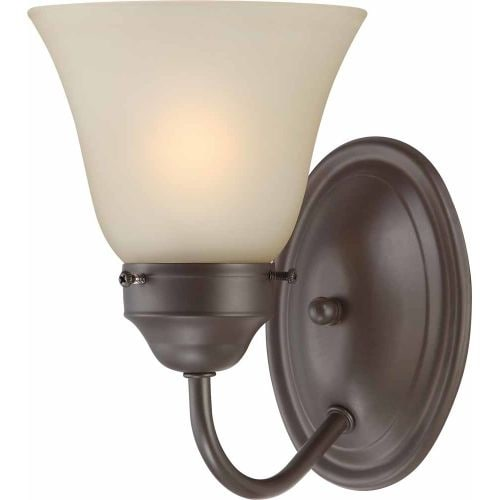 Volume Lighting V1491 Marti 1 Light Bathroom Sconce with Sepia Glass Shade