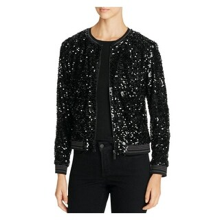Sanctuary Womens Bomber Jacket Sequined Long Sleeves