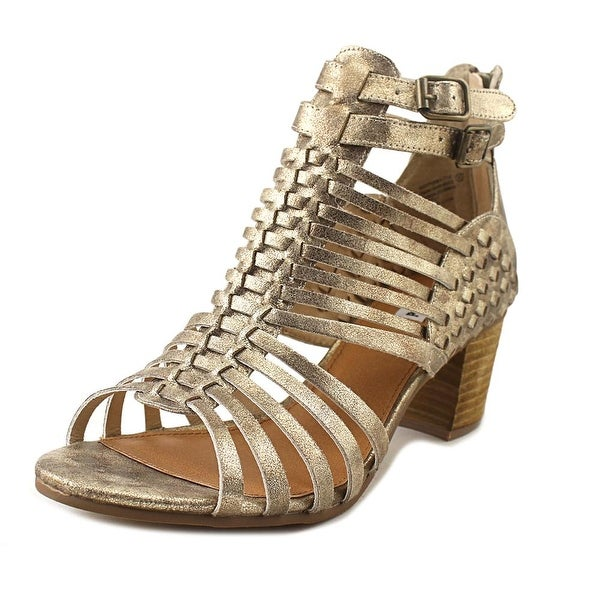 Not Rated Ofanto Women Open Toe Leather Gold Sandals