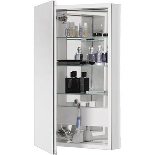"Robern PLM2040W PL Series Single Door 19-1/4"" x 39-5/8"" Medicine Cabinet with Reversible Mirrored Door with White Interior"