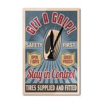Retro Tire Ad - Vintage Sign - LP Artwork (Acrylic Wall Clock) - acrylic wall clock