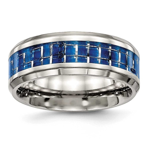 Stainless Steel Polished Blue/White Carbon Fiber Inlay Ring (8 mm) - Sizes 7 - 13