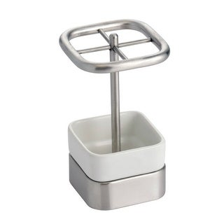 Interdesign 16270 Gia White Ceramic Toothbrush Stand, Stainless Steel Accents
