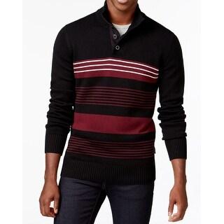 Sean John NEW Black Red Men's Size 2XL Button-Neck Stripe Sweater