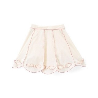 Little Girls Ivory Pink Contrast Piping Bow Cotton Stylish Skirt