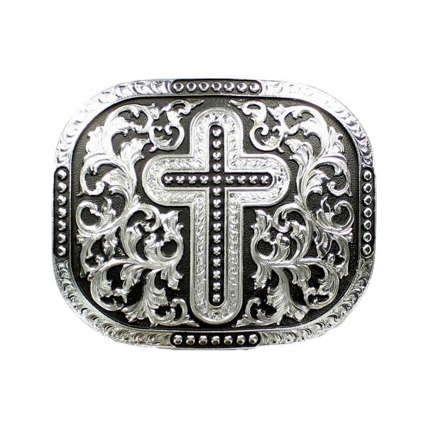 Nocona Western Belt Buckle Rectangle Beaded Silver Black - 3 1/2 x 4