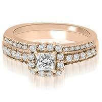 1.09 cttw. 14K Rose Gold Halo Princess And Round Diamond Bridal Set