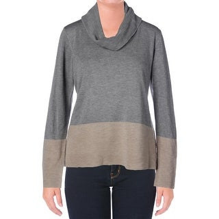 Calvin Klein Womens Long Sleeves Colorblock Pullover Sweater - L