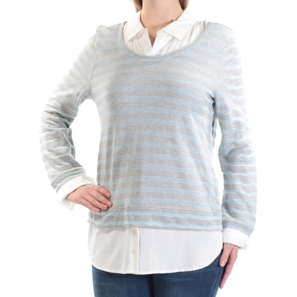 Tommy Hilfiger Womens Light Blue Striped Long Sleeve Collared Tiered Sweater Size M