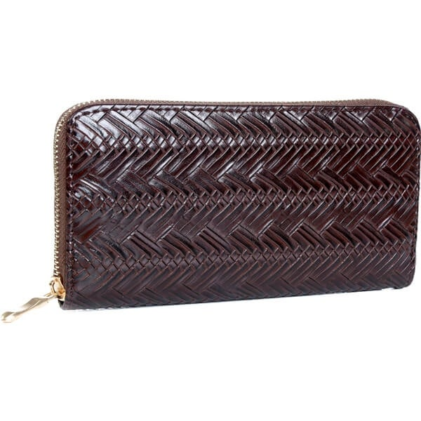 Mad Style Chocolate Herringbone Zipper Wallet