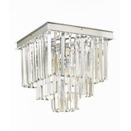 Retro Odeon Crystal Glass Fringe 3 Tier Flush Mount Chandelier Flushmount Silver Chrome