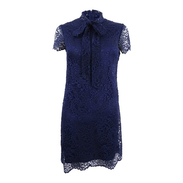 48c3c33a6847d Shop Betsey Johnson Women's Tie-Neck Lace Sheath Dress - Blue - Free  Shipping Today - Overstock - 24253766