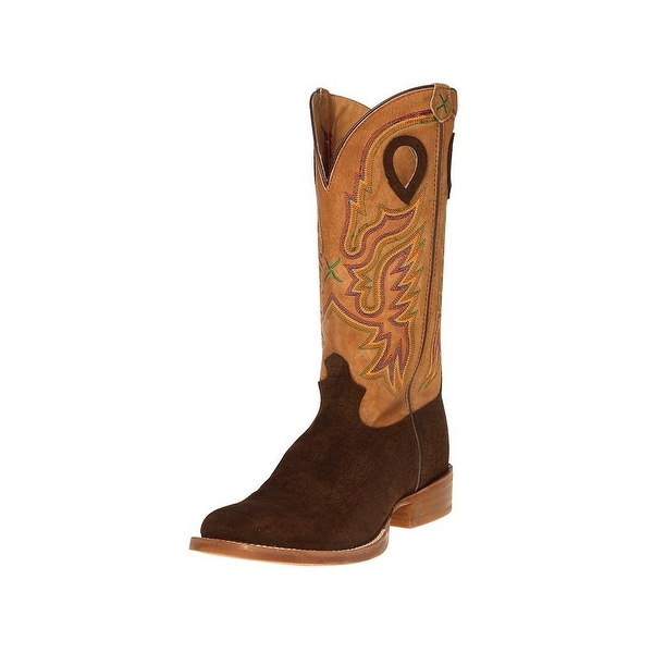 Twisted X Western Boots Mens Stockman Square Toe Loops Brown