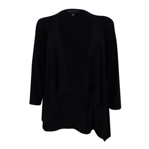 Connected Women's Draped Open-Front Sweater Jacket (PXL, Black) - Black - PXL