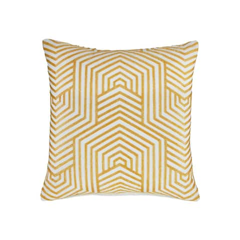 Adrik Golden Yellow Geometric Patterned Contemporary Accent Pillow
