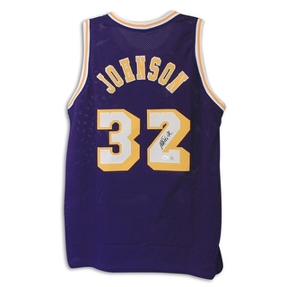 Magic Johnson Los Angeles Lakers Autographed Purple Throwback Jersey