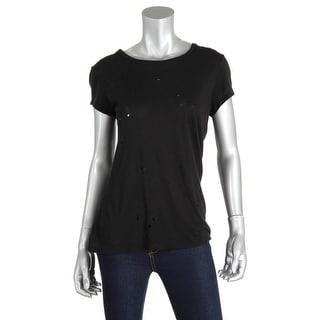 Sundry Womens Juniors Modal Destroyed T-Shirt