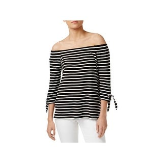 Calvin Klein Womens Pullover Top Striped Off-The-Shoulder